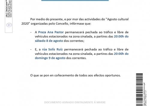 Bando Corte Praza Ana Pastor 08/08/2020 e rúa Solís Ruíz 09/08/2020